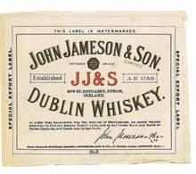 ETIQUETTE ALCOOL WHISKY JOHN JAMESON &SON DUBLIN WHISKEY - Whisky