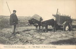 TYPES BASQUES LE VOUVIER ET SON ATTELAGE DE BOEUFS 64 - Frankrijk