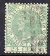 Malaya Straits Settlements 1867-72 24c Yellow-green, Wmk. Crown CC, Used, SG 16a - Straits Settlements