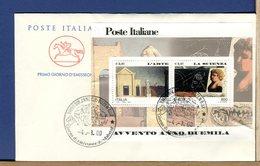 ITALIA - FDC CAVALLINO 2000 -  FOGLIETTO AVVENTO ANNO DUEMILA - L'ARTE - LA SCIENZA - 6. 1946-.. Repubblica