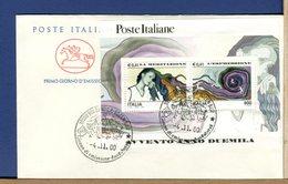 ITALIA - FDC CAVALLINO 2000 -  FOGLIETTO AVVENTO ANNO DUEMILA - MEDITAZIONE - ESPRESSIONE - 6. 1946-.. Repubblica