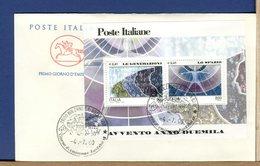 ITALIA - FDC CAVALLINO 2000 -  FOGLIETTO AVVENTO ANNO DUEMILA - GENERAZIONI  -  SPAZIO - 6. 1946-.. Repubblica