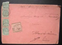 Jussey 1907 (haute Saône) Lettre Recommandée Pour Blondefontaine (enveloppe Orlandi) - Marcophilie (Lettres)