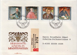 Postal History Cover: Liechtenstein Used Registered FDC - Persönlichkeiten