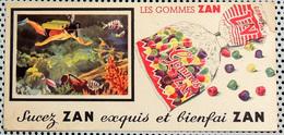 Buvard Les Gommes ZAN Sucez ZAN Exquis Et Bienfai ZAN Plongée Sous-marine Et Poissons Exotiques - Sucreries & Gâteaux
