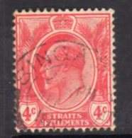Malaya Straits Settlements 1906-12 4c Red, Wmk. Multiple  Crown CA, Used, SG 154 - Straits Settlements