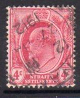 Malaya Straits Settlements 1906-12 4c Claret, Wmk. Multiple  Crown CA, Used, SG 156 - Straits Settlements
