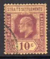 Malaya Straits Settlements 1906-12 10c Purple On Yellow Chalky Paper, Wmk. Multiple  Crown CA, Used, SG 159a - Straits Settlements