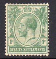 Malaya Straits Settlements GV 1912-23 1c Pale Green, Wmk. Multiple Crown CA, Hinged Mint, SG 193a - Straits Settlements