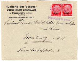 "Dt. Besetzung Elsaß; Bedarfsbrief Mit Notstempel ""Dossenheim (Kr. Zabern)"" - Besetzungen 1938-45"