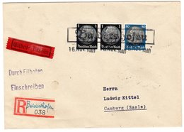 """Dt. Besetzung Lothringen; Einschr./Eilboten-Brief Mit Not.-stpl. """"Belderthofen"""" - Besetzungen 1938-45"""