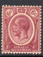 Malaya Straits Settlements GV 1912-23 6c Deep Claret, Wmk. Multiple Crown CA, Hinged Mint, SG 200a - Straits Settlements