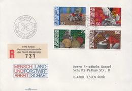 Postal History Cover: Liechtenstein Used Registered FDC - Jobs