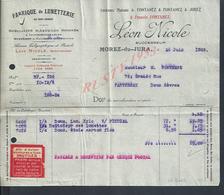 FACTURE  DE 1925 LÉON NICOLE FABRIQUE DE LUNETTERIE A MOREZ DU JURA : - France