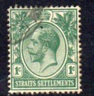 Malaya Straits Settlements GV 1912-23 1c Green, Wmk. Multiple Crown CA, Used, SG 193 - Straits Settlements