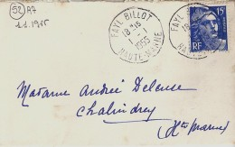 52 - HAUTE MARNE - FAYL BILLOT - 1955 - TàD De Type A7 Avec DATE  1.1.1955 - Marcophilie (Lettres)
