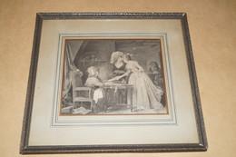 Splendide Très Ancienne Gravure à Identifier,la Voyante,voyance,27,5 Cm. Sur 25,5 Cm. - Gravures