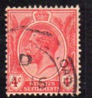 Malaya Straits Settlements GV 1912-23 4c Rose-scarlet, Wmk. Multiple Crown CA, Used, SG 198 - Straits Settlements