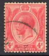 Malaya Straits Settlements GV 1912-23 4c Carmine, Wmk. Multiple Crown CA, Used, SG 198a - Straits Settlements