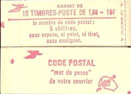 """CARNET 2220-C 5 Liberté De Delacroix """"CODE POSTAL"""" Daté 16/6/82 Fermé, Parfait état Bas Prix RARE - Usados Corriente"""