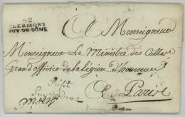 Préfet Puy-de-Dôme + 52 CLERMONT / LàC 1806 Pour Le Ministre Des Cultes Portalis . Traitement Des Curés . - Marcophilie (Lettres)