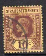 Malaya Straits Settlements GV 1912-23 10c Purple On Yellow Paper, Wmk. Multiple Crown CA, Used, SG 202 - Straits Settlements