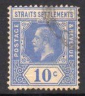 Malaya Straits Settlements GV 1912-23 10c Bright Blue, Wmk. Multiple Crown CA, Used, SG 203a - Straits Settlements