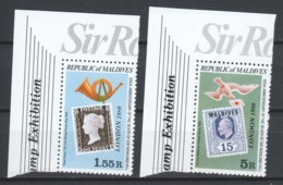 Maldives 1980 Mi 875-876C MNH STAMP ON STAMP - Stamps On Stamps