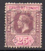 Malaya Straits Settlements GV 1912-23 25c Dull Purple & Mauve, Wmk. Multiple Crown CA, Used, SG 205 - Straits Settlements