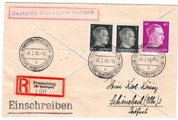 """Dt. Besetzung Ukraine; Einschreibbrief """"Frauenburg"""" (Dt. Dienstpost) - Besetzungen 1938-45"""