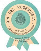 ETIQUETA     DIA DEL RESERVISTA -20 DE AGOSTO-AÑO DEL LIBERTADOR GRAL. S. MARTIN - Publicidad