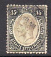 Malaya Straits Settlements GV 1912-23 45c Black On Green Paper, White Back, Wmk. Multiple Crown CA, Used, SG 208 - Straits Settlements