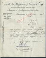FACTURE DE 1908 RAFFINERIE SUCRERIE LAY DE COULOMIERS : - 1900 – 1949