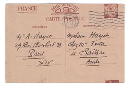 CARTE ENTIER POSTAL IRIS INTERZONE Avec SUPERBE ET RARE VARIÉTÉ DE DÉCOUPE À CHEVAL CIRCULÉ 1941 OMEC PARIS ORLEANS - Entiers Postaux