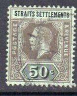 Malaya Straits Settlements GV 1912-23 50c Black On Green Paper, Emerald Back, Wmk. Multiple Crown CA, Used, SG 209b - Straits Settlements