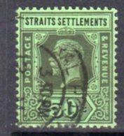 Malaya Straits Settlements GV 1912-23 50c Black On Green Paper, Die II, Wmk. Multiple Crown CA, Used, SG 209c - Straits Settlements