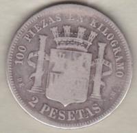 Provisional Government, 2 Pesetas 1870 DE.M , En Argent - [ 1] …-1931 : Royaume