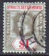 Malaya Straits Settlements GV 1912-23 $1 Black & Red On Green Paper, Wmk. Multiple Crown CA, Used, SG 210 - Straits Settlements