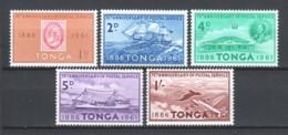 Tonga 1961 Mi 114-118 MNH STAMP ON STAMP - TRANSPORT - Stamps On Stamps