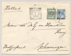 Nederlands Indië - 1906 - 12,5 Cent Bontkraag, Envelop G19 L KENDANGAN En VK BANDJERMASIN Via Singapore Nr Scheveningen - Indes Néerlandaises