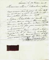 1803 AMIENS Par Tavernin Fabricant De Tissus Pour Chevalier à Colmar B.E.AVEC ECHANTILLON DE TISSU VOIR SCANS - Francia