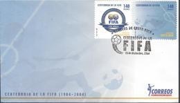 COSTA RICA FIFA CENTENARY, EMBLEM, SOCCER PLAYER FIELD Sc 582 FDC 2004 - Fussball
