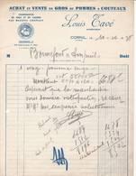 19 CORNIL Corrèze  FACTURE 1938 Fruits Pommes Louis TAVE - A56 C/ LA FORTUNADE - France