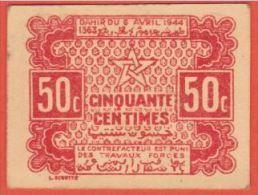 MAROC - EMPIRE CHERIFIEN 50 Centimes Du 06 04 1944 - PICK 41 - SPL - Morocco