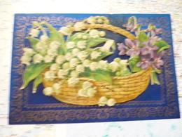 Carte En Celluloid Avec Panier De Fleur En Carton Collé Sur La Carte - Cartes Postales