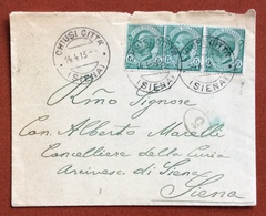 CHIUSI CITTA' SIENA  14/4/13  Annullo SU BUSTA PER IL CANONICO ALBERTO MORELLI CURIA DI SIENA - 1861-78 Vittorio Emanuele II