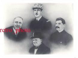 Grande Photo Yalta ( Montage ) : De Gaulle, Staline, Churchill, Roosevelt - Guerre, Militaire