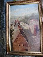 TABLEAU - Vue De Rue - Signe Sur Cadre Deheselle - Dimensions Hors Cadre : 55 X 34 Cm - Oils
