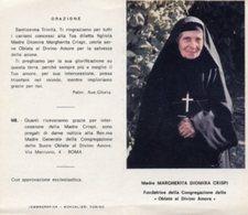 Santino Depliant MADRE DIOMIRA MARGHERITA CRISPI Fondatrice Delle Oblate Al Divino Amore - PERFETTO P82 - Religione & Esoterismo