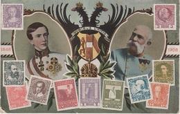 Litho AK Österreich Kaiserliche Post Kaiser Briefmarke Stamp Timbre Wappen Briefmarkenkarte Philatelie Austria Autriche - Briefmarken (Abbildungen)